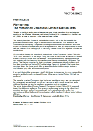 Press Release_Pioneer X Damast Limited Edition 2016_EN